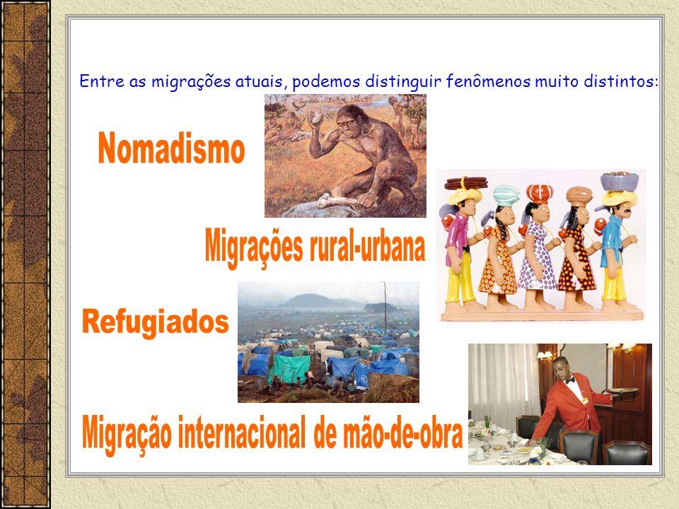 Entre as migrações atuais, podemos distinguir fenômenos muito distintos: