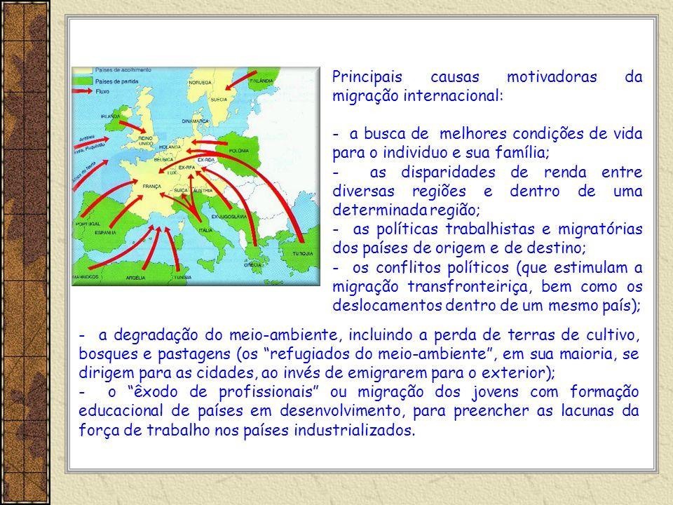 Principais causas motivadoras da migração internacional: - a busca de melhores condições de vida para o individuo e sua família; - as disparidades de