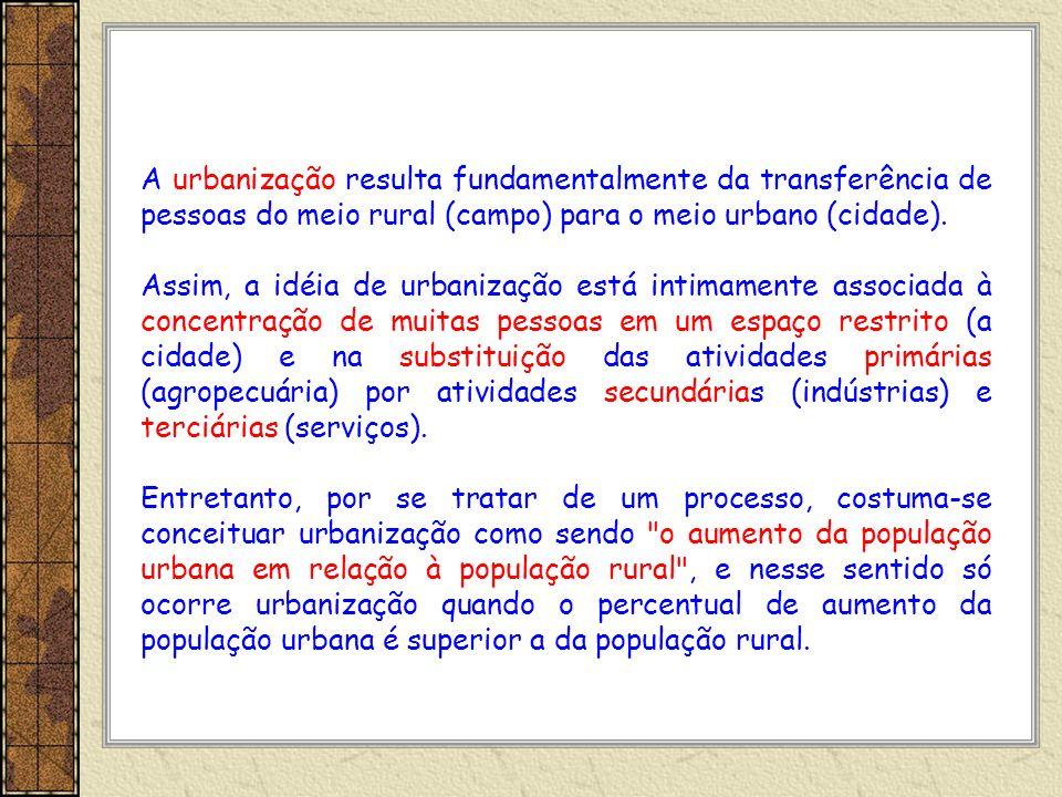 A urbanização resulta fundamentalmente da transferência de pessoas do meio rural (campo) para o meio urbano (cidade). Assim, a idéia de urbanização es