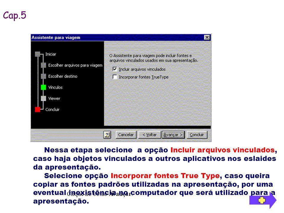 Clique no botão Avançar. Nessa etapa selecione a opção Incluir arquivos vinculados, caso haja objetos vinculados a outros aplicativos nos eslaides da