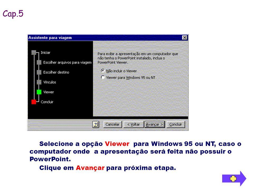 Clique em Avançar para próxima etapa. Selecione a opção Viewer para Windows 95 ou NT, caso o computador onde a apresentação será feita não possuir o P