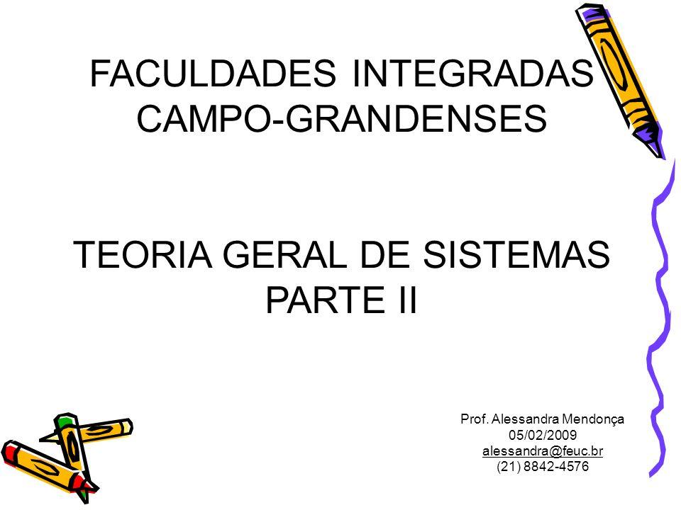 FACULDADES INTEGRADAS CAMPO-GRANDENSES TEORIA GERAL DE SISTEMAS PARTE II Prof. Alessandra Mendonça 05/02/2009 alessandra@feuc.br (21) 8842-4576