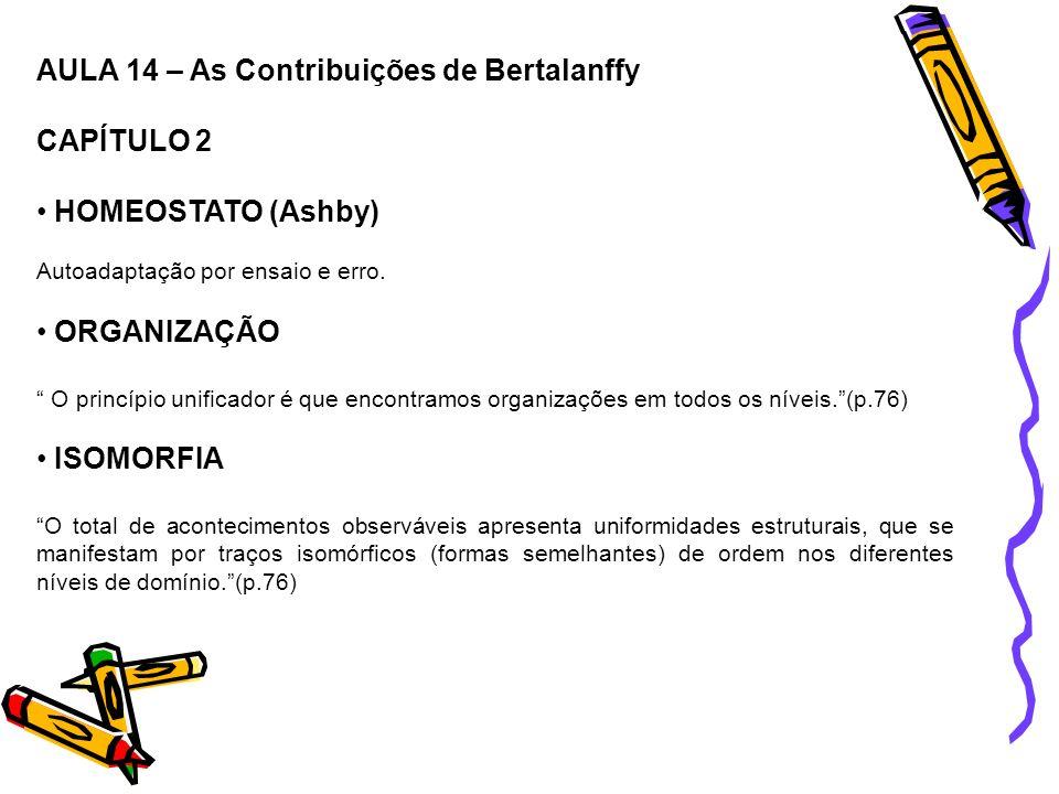 AULA 14 – As Contribuições de Bertalanffy CAPÍTULO 2 HOMEOSTATO (Ashby) Autoadaptação por ensaio e erro. ORGANIZAÇÃO O princípio unificador é que enco