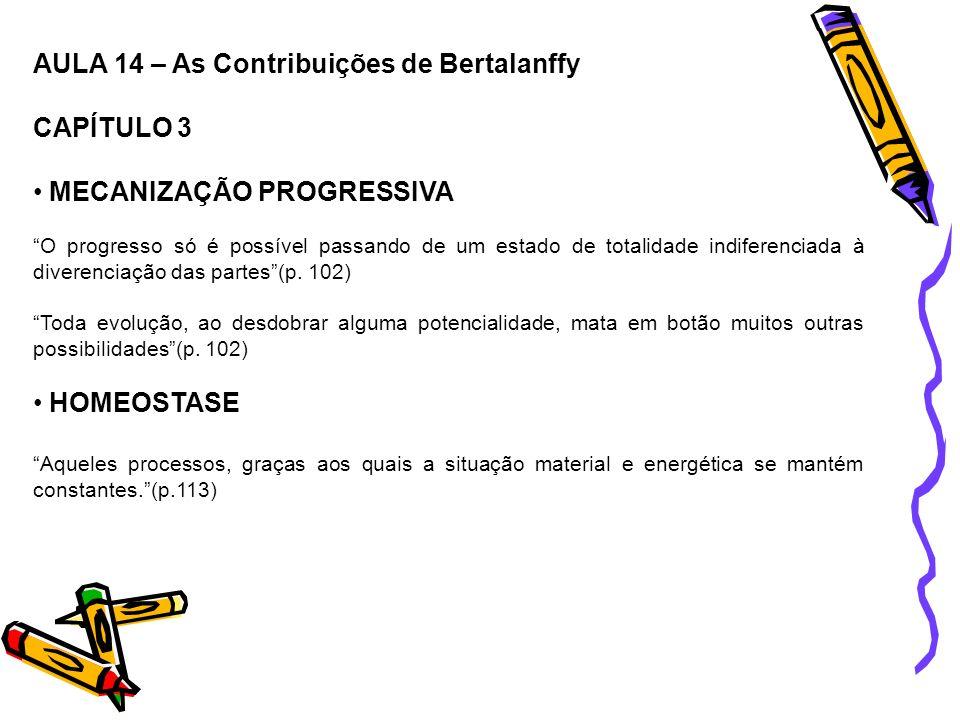AULA 14 – As Contribuições de Bertalanffy CAPÍTULO 3 MECANIZAÇÃO PROGRESSIVA O progresso só é possível passando de um estado de totalidade indiferenci