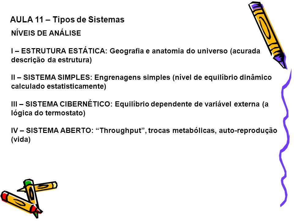 NÍVEIS DE ANÁLISE I – ESTRUTURA ESTÁTICA: Geografia e anatomia do universo (acurada descrição da estrutura) II – SISTEMA SIMPLES: Engrenagens simples