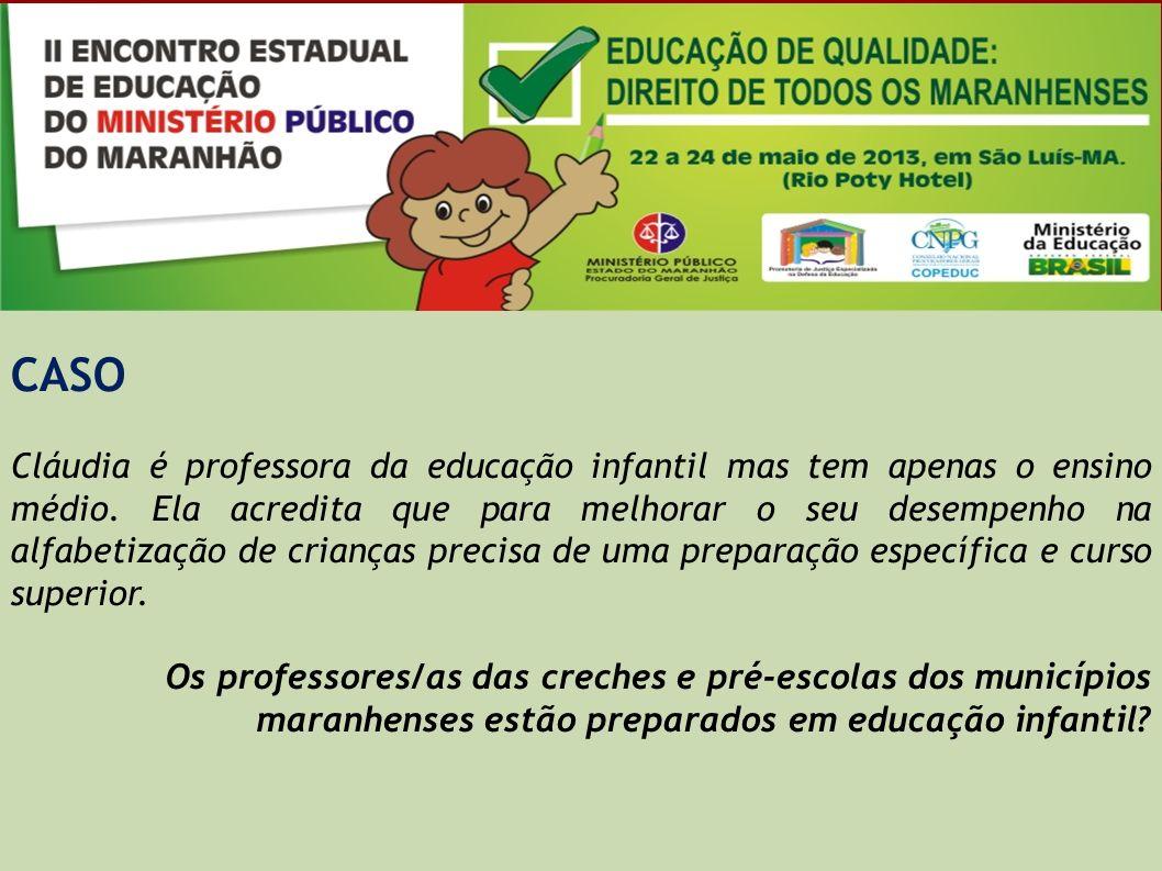 CASO Cláudia é professora da educação infantil mas tem apenas o ensino médio. Ela acredita que para melhorar o seu desempenho na alfabetização de cria