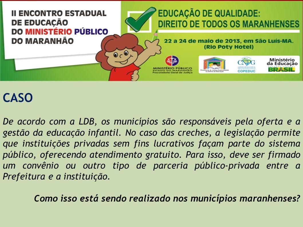 CASO De acordo com a LDB, os municípios são responsáveis pela oferta e a gestão da educação infantil. No caso das creches, a legislação permite que in