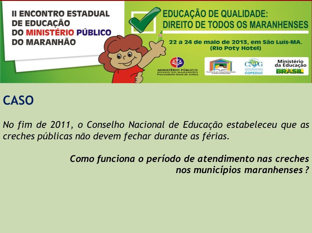 CASO Considerando os cuidados específicos para as crianças de 0 a 5 anos e a importante relação com os demais direitos da infância, o Ministério da Educação elaborou critérios de referência para uma creche que garanta os direitos integrais das crianças.