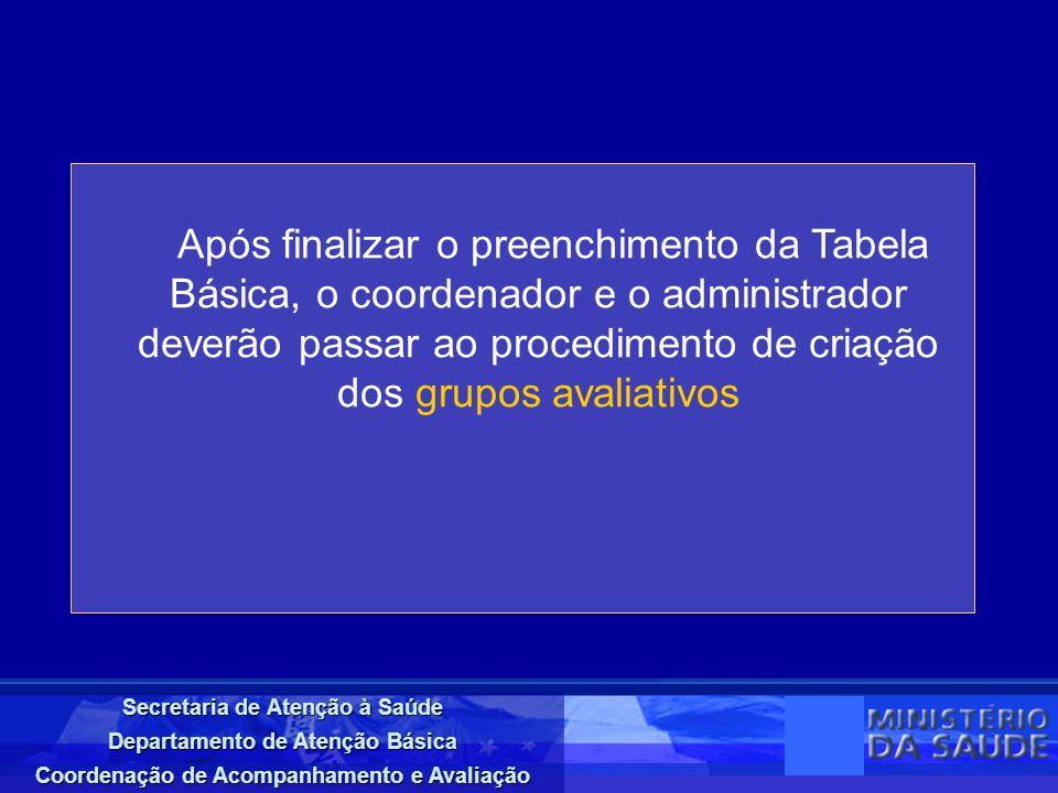 Secretaria de Atenção à Saúde Departamento de Atenção Básica Coordenação de Acompanhamento e Avaliação Em composição