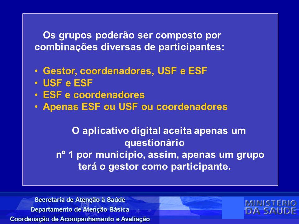 Secretaria de Atenção à Saúde Departamento de Atenção Básica Coordenação de Acompanhamento e Avaliação Os grupos poderão ser composto por combinações
