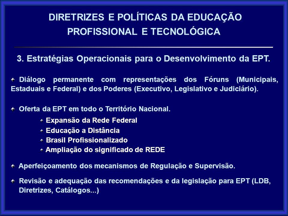Diálogo permanente com representações dos Fóruns (Municipais, Estaduais e Federal) e dos Poderes (Executivo, Legislativo e Judiciário). Oferta da EPT