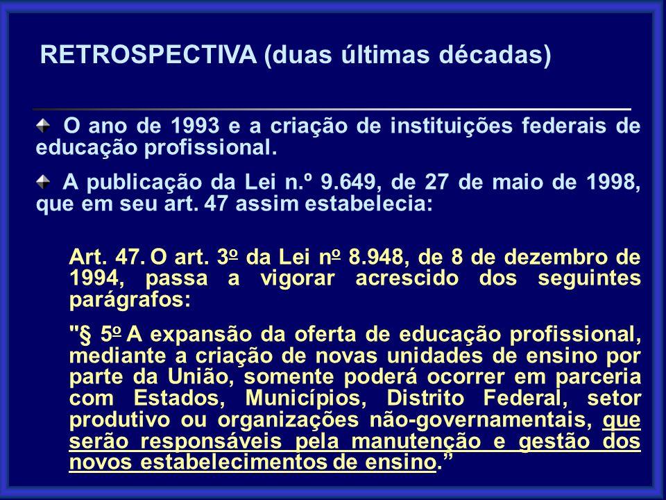 O ano de 1993 e a criação de instituições federais de educação profissional. A publicação da Lei n.º 9.649, de 27 de maio de 1998, que em seu art. 47