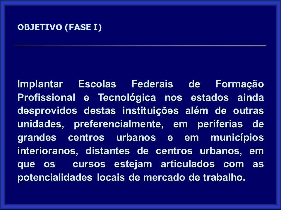 Implantar Escolas Federais de Formação Profissional e Tecnológica nos estados ainda desprovidos destas instituições além de outras unidades, preferenc