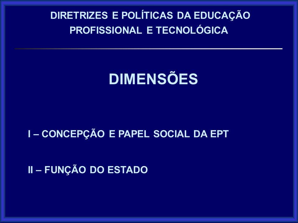 DIMENSÕES I – CONCEPÇÃO E PAPEL SOCIAL DA EPT II – FUNÇÃO DO ESTADO DIRETRIZES E POLÍTICAS DA EDUCAÇÃO PROFISSIONAL E TECNOLÓGICA