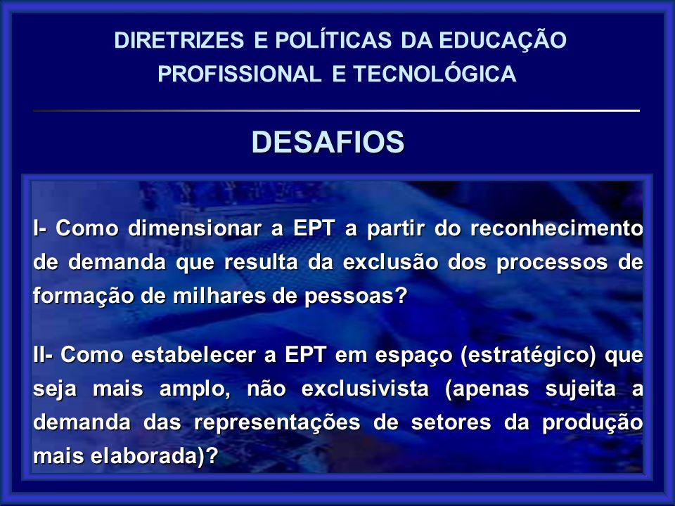 DESAFIOS DESAFIOS DIRETRIZES E POLÍTICAS DA EDUCAÇÃO PROFISSIONAL E TECNOLÓGICA I- Como dimensionar a EPT a partir do reconhecimento de demanda que re