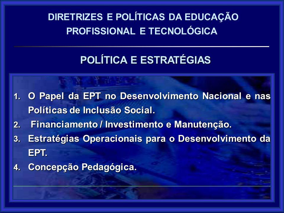POLÍTICA E ESTRATÉGIAS DIRETRIZES E POLÍTICAS DA EDUCAÇÃO PROFISSIONAL E TECNOLÓGICA 1.O Papel da EPT no Desenvolvimento Nacional e nas Políticas de Inclusão Social EPT como Política Pública.