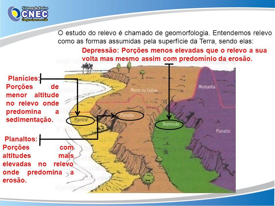 O estudo do relevo é chamado de geomorfologia. Entendemos relevo como as formas assumidas pela superfície da Terra, sendo elas: Planícies: Porções de