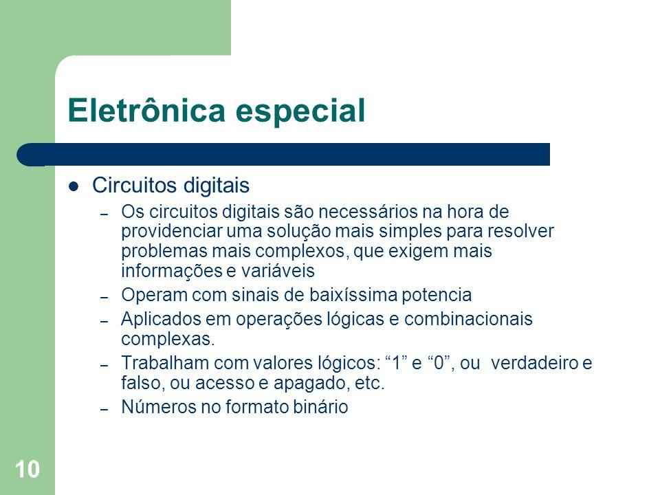 10 Eletrônica especial Circuitos digitais – Os circuitos digitais são necessários na hora de providenciar uma solução mais simples para resolver probl