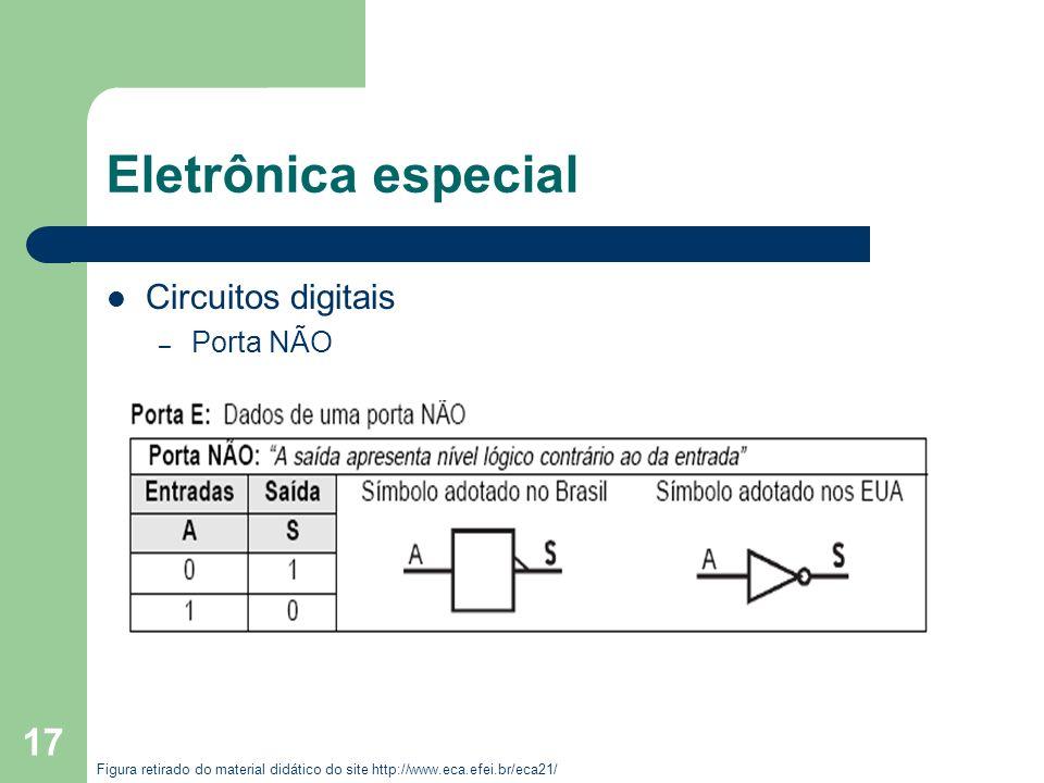 17 Eletrônica especial Circuitos digitais – Porta NÃO Figura retirado do material didático do site http://www.eca.efei.br/eca21/