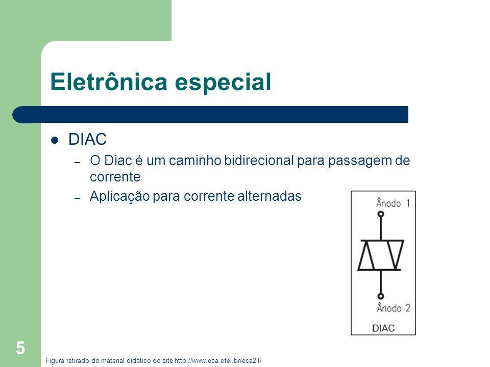 5 Eletrônica especial DIAC – O Diac é um caminho bidirecional para passagem de corrente – Aplicação para corrente alternadas Figura retirado do materi