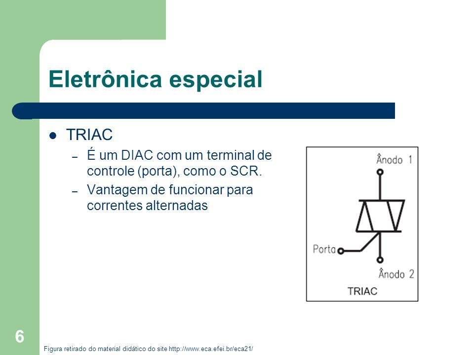 6 Eletrônica especial TRIAC – É um DIAC com um terminal de controle (porta), como o SCR. – Vantagem de funcionar para correntes alternadas Figura reti