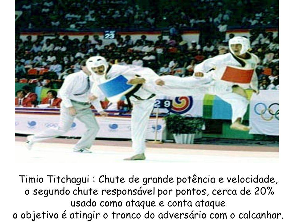 Timio Titchagui : Chute de grande potência e velocidade, o segundo chute responsável por pontos, cerca de 20% usado como ataque e conta ataque o objet