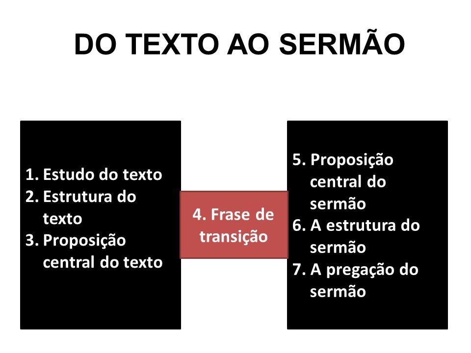 DO TEXTO AO SERMÃO 1.Estudo do texto 2.Estrutura do texto 3.Proposição central do texto 5. Proposição central do sermão 6. A estrutura do sermão 7. A