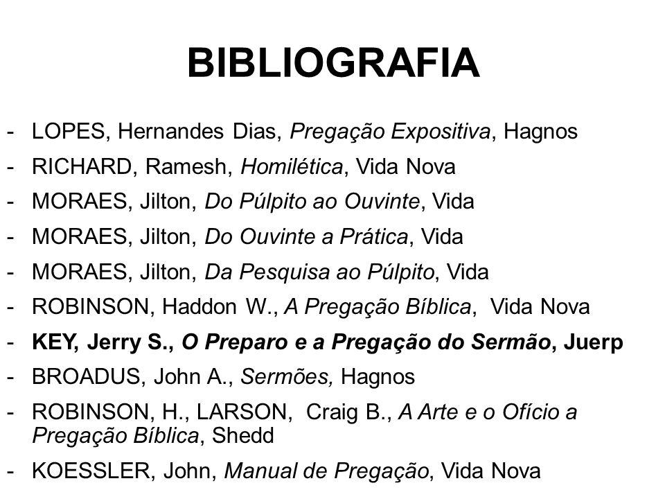 BIBLIOGRAFIA -LOPES, Hernandes Dias, Pregação Expositiva, Hagnos -RICHARD, Ramesh, Homilética, Vida Nova -MORAES, Jilton, Do Púlpito ao Ouvinte, Vida