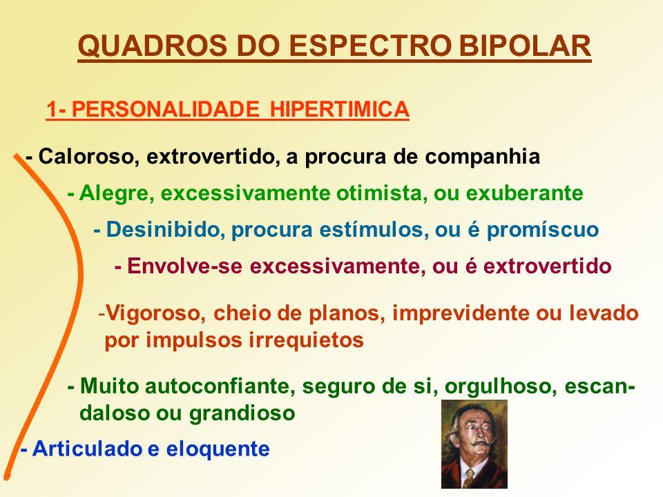 QUADROS DO ESPECTRO BIPOLAR 1- PERSONALIDADE HIPERTIMICA - Caloroso, extrovertido, a procura de companhia - Alegre, excessivamente otimista, ou exuber