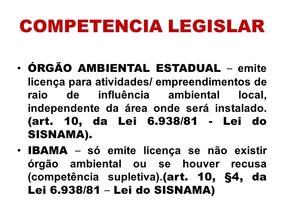 COMPETENCIA LEGISLAR ÓRGÃO AMBIENTAL ESTADUAL – emite licença para atividades/ empreendimentos de raio de influência ambiental local, independente da