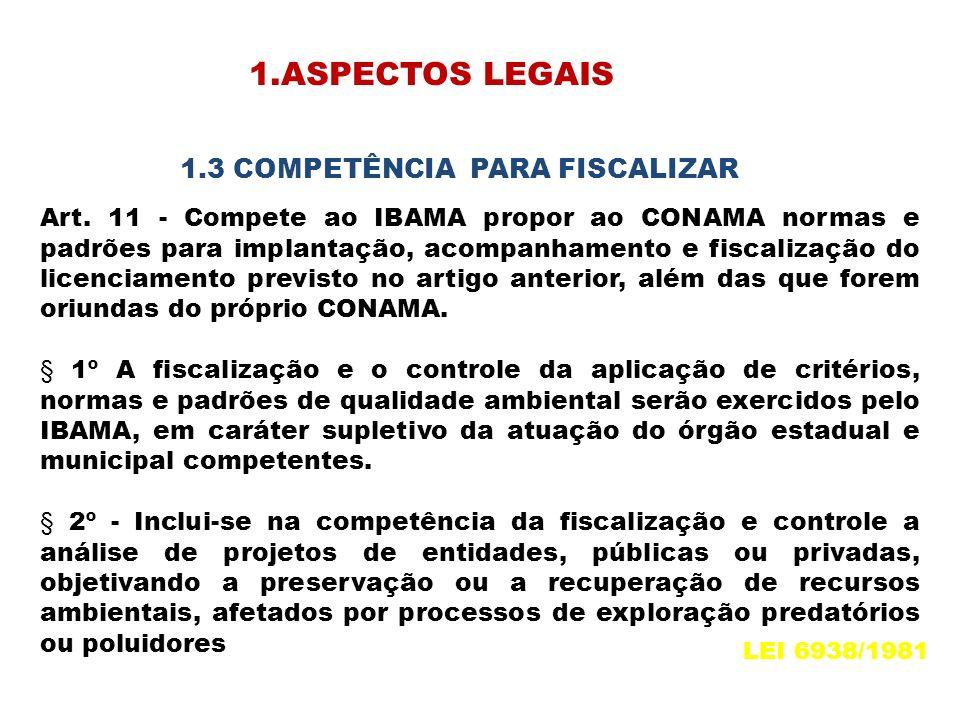 Art. 11 - Compete ao IBAMA propor ao CONAMA normas e padrões para implantação, acompanhamento e fiscalização do licenciamento previsto no artigo anter