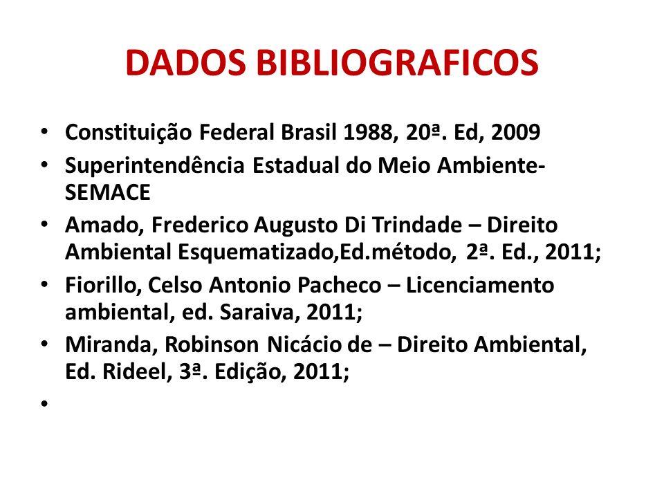 DADOS BIBLIOGRAFICOS Constituição Federal Brasil 1988, 20ª. Ed, 2009 Superintendência Estadual do Meio Ambiente- SEMACE Amado, Frederico Augusto Di Tr