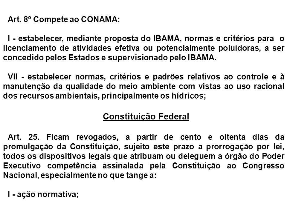 Art. 8º Compete ao CONAMA: I - estabelecer, mediante proposta do IBAMA, normas e critérios para o licenciamento de atividades efetiva ou potencialment
