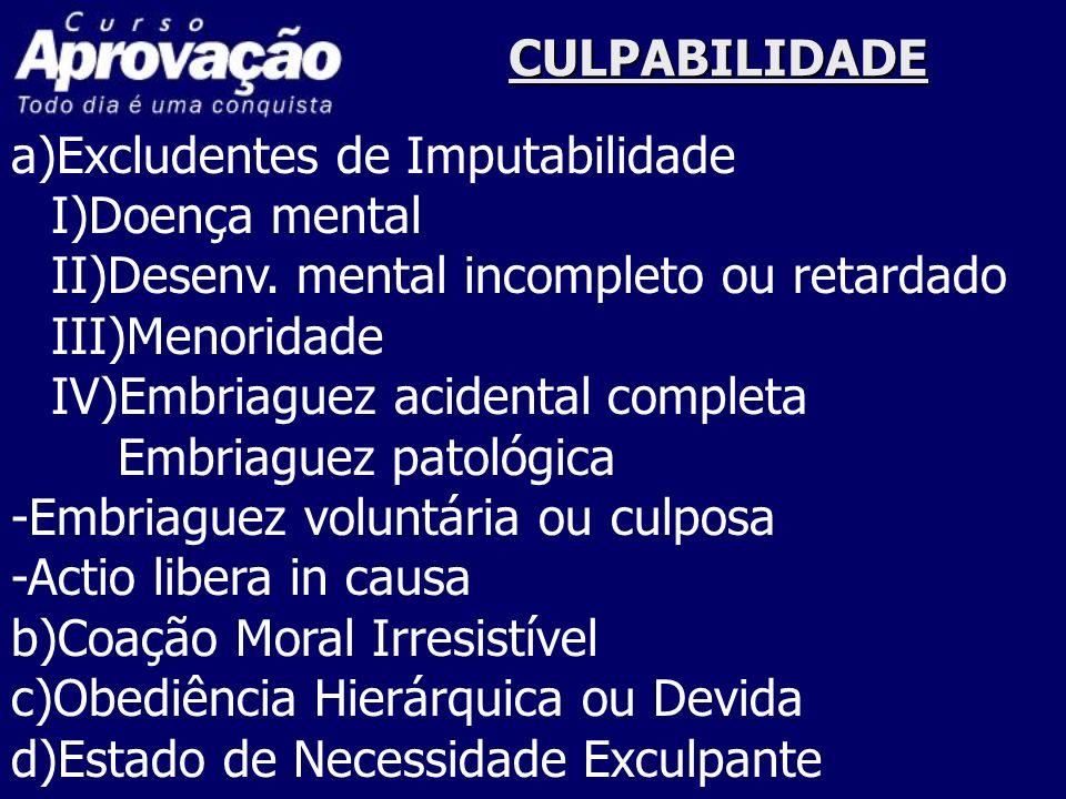CULPABILIDADE a)Excludentes de Imputabilidade I)Doença mental II)Desenv.
