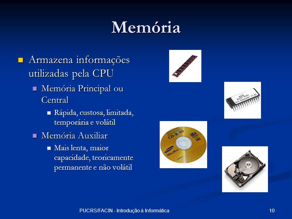 10PUCRS/FACIN - Introdução à Informática Memória Armazena informações utilizadas pela CPU Armazena informações utilizadas pela CPU Memória Principal o