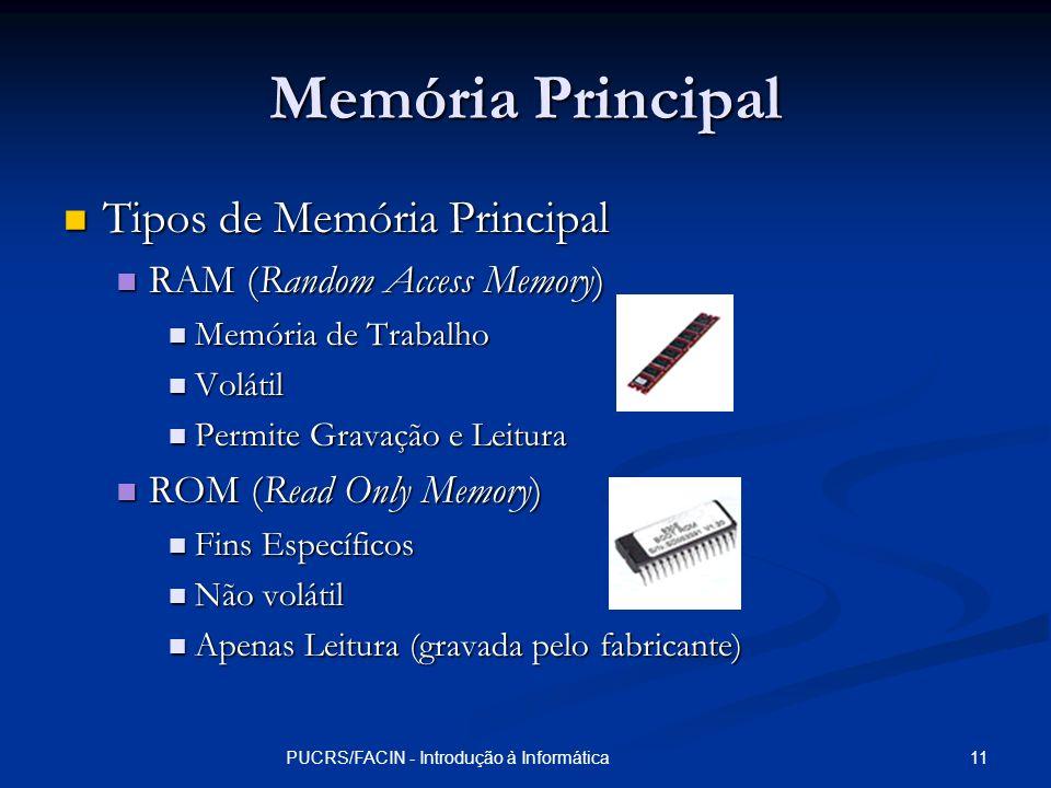 11PUCRS/FACIN - Introdução à Informática Memória Principal Tipos de Memória Principal Tipos de Memória Principal RAM (Random Access Memory) RAM (Rando