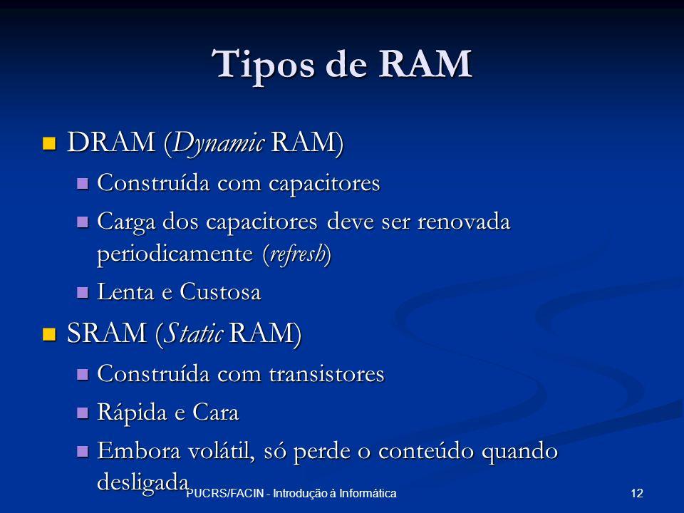 12PUCRS/FACIN - Introdução à Informática Tipos de RAM DRAM (Dynamic RAM) DRAM (Dynamic RAM) Construída com capacitores Construída com capacitores Carg