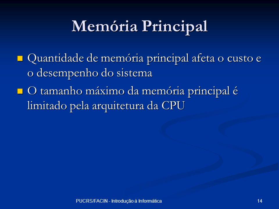14PUCRS/FACIN - Introdução à Informática Memória Principal Quantidade de memória principal afeta o custo e o desempenho do sistema Quantidade de memór