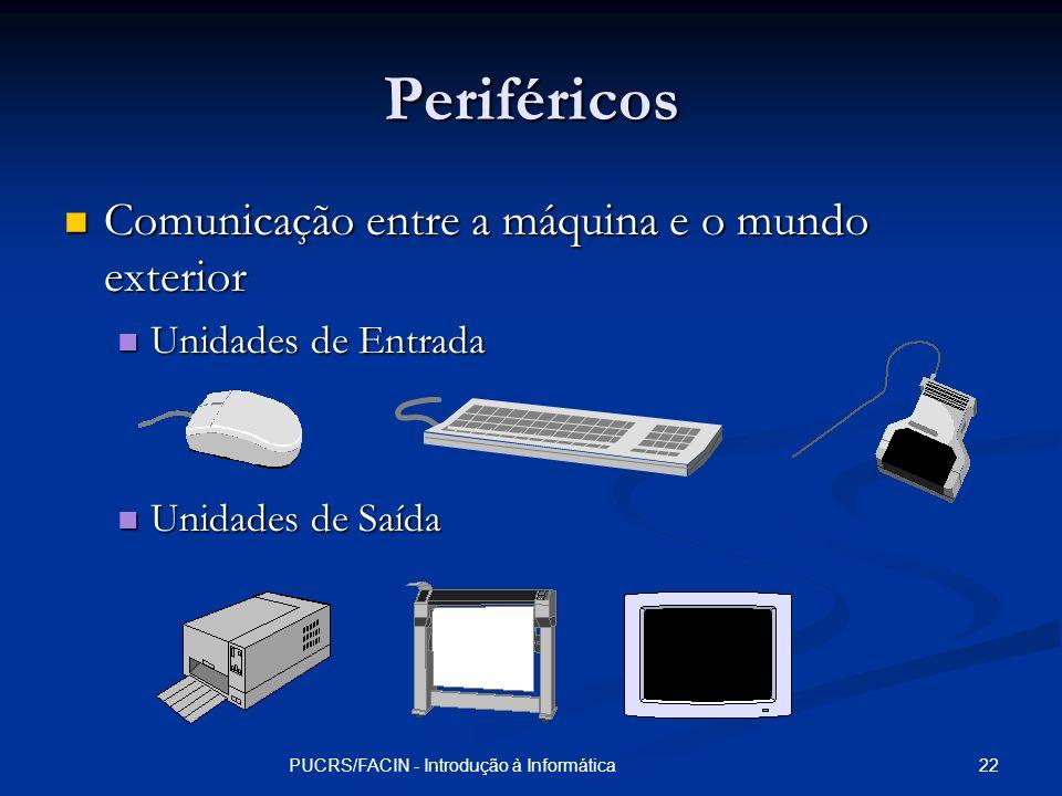 22PUCRS/FACIN - Introdução à Informática Periféricos Comunicação entre a máquina e o mundo exterior Comunicação entre a máquina e o mundo exterior Uni
