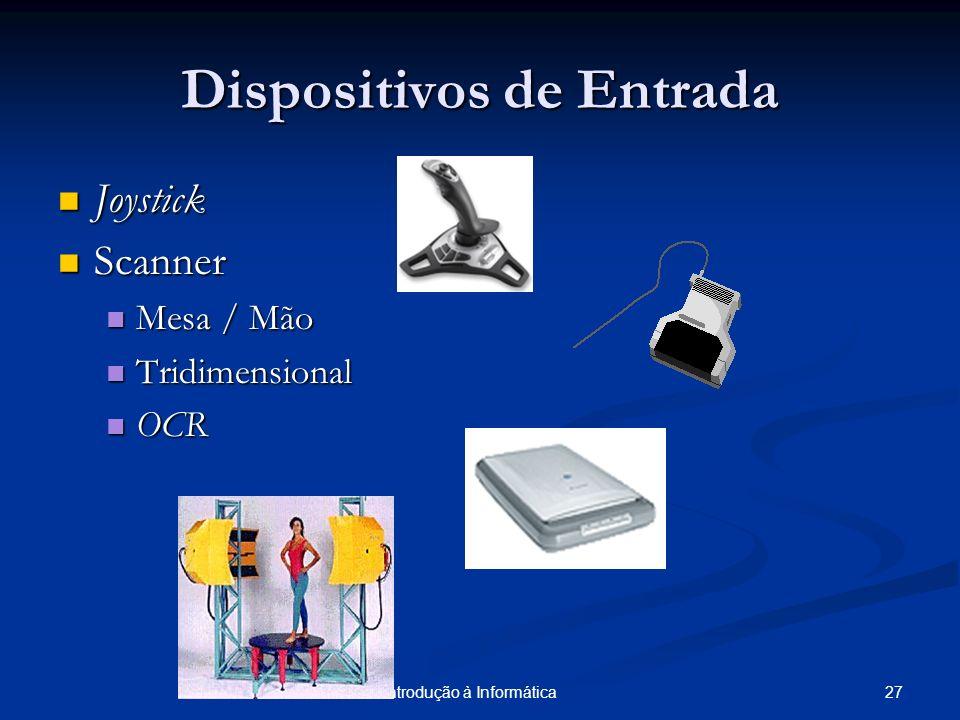 27PUCRS/FACIN - Introdução à Informática Dispositivos de Entrada Joystick Joystick Scanner Scanner Mesa / Mão Mesa / Mão Tridimensional Tridimensional
