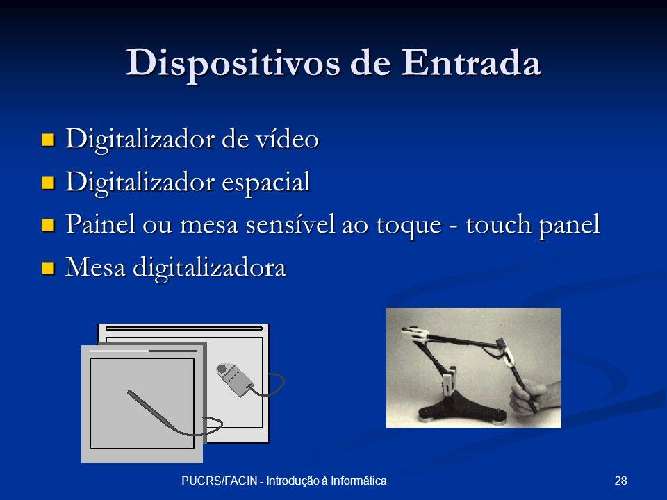 28PUCRS/FACIN - Introdução à Informática Dispositivos de Entrada Digitalizador de vídeo Digitalizador de vídeo Digitalizador espacial Digitalizador es