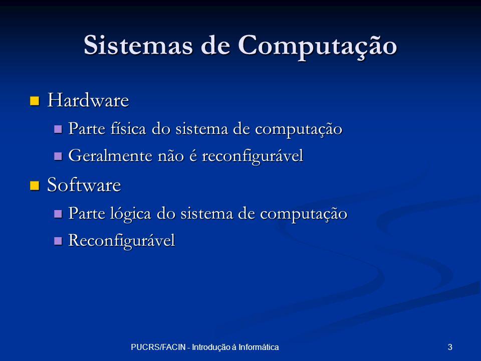 14PUCRS/FACIN - Introdução à Informática Memória Principal Quantidade de memória principal afeta o custo e o desempenho do sistema Quantidade de memória principal afeta o custo e o desempenho do sistema O tamanho máximo da memória principal é limitado pela arquitetura da CPU O tamanho máximo da memória principal é limitado pela arquitetura da CPU