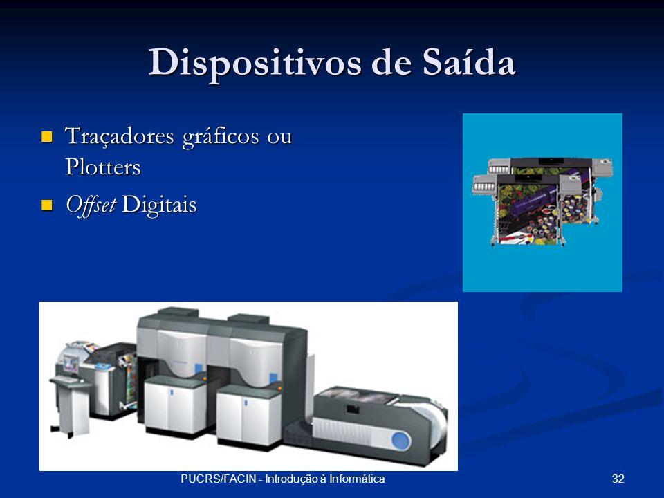 32PUCRS/FACIN - Introdução à Informática Dispositivos de Saída Traçadores gráficos ou Plotters Traçadores gráficos ou Plotters Offset Digitais Offset