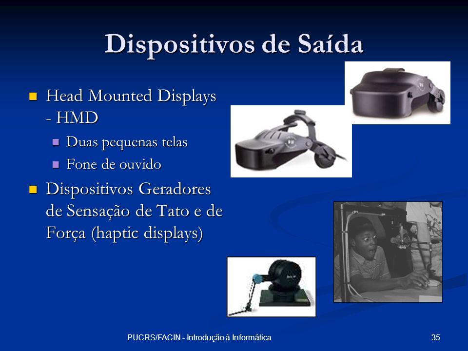 35PUCRS/FACIN - Introdução à Informática Dispositivos de Saída Head Mounted Displays - HMD Head Mounted Displays - HMD Duas pequenas telas Duas pequen