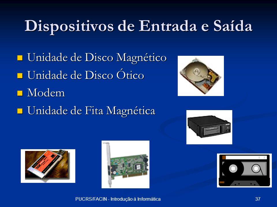 37PUCRS/FACIN - Introdução à Informática Dispositivos de Entrada e Saída Unidade de Disco Magnético Unidade de Disco Magnético Unidade de Disco Ótico