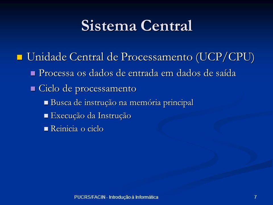 7PUCRS/FACIN - Introdução à Informática Sistema Central Unidade Central de Processamento (UCP/CPU) Unidade Central de Processamento (UCP/CPU) Processa
