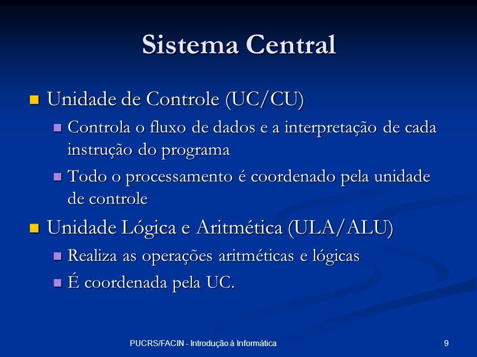 9PUCRS/FACIN - Introdução à Informática Sistema Central Unidade de Controle (UC/CU) Unidade de Controle (UC/CU) Controla o fluxo de dados e a interpre