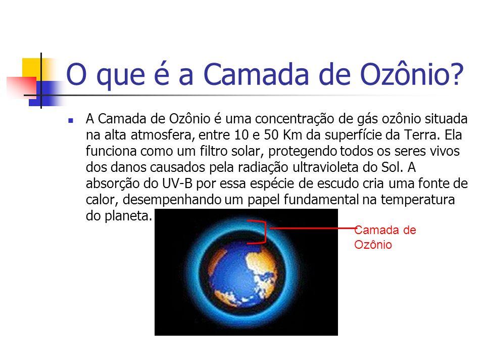 O que é a Camada de Ozônio? A Camada de Ozônio é uma concentração de gás ozônio situada na alta atmosfera, entre 10 e 50 Km da superfície da Terra. El