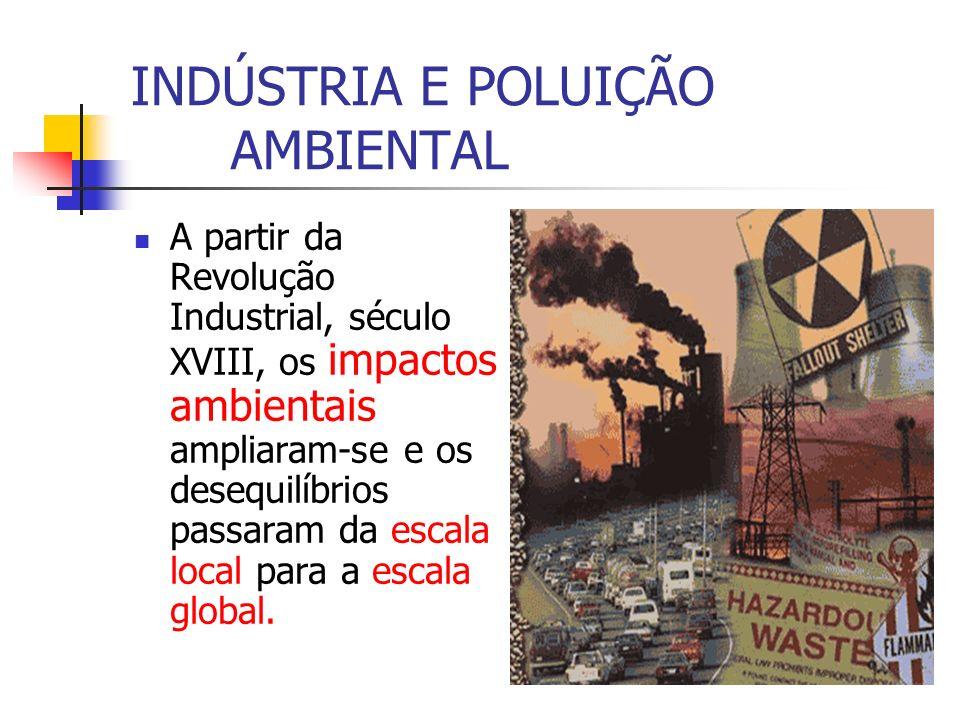 INDÚSTRIA E POLUIÇÃO AMBIENTAL A partir da Revolução Industrial, século XVIII, os impactos ambientais ampliaram-se e os desequilíbrios passaram da esc