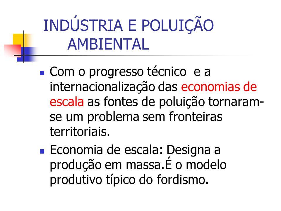 INDÚSTRIA E POLUIÇÃO AMBIENTAL Com o progresso técnico e a internacionalização das economias de escala as fontes de poluição tornaram- se um problema